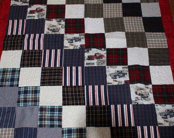 Memory quilt from clothing of a loved one, Remembrance quilt from Dads shirts, Sympathy quilt from recycled clothing,Throw size quilt