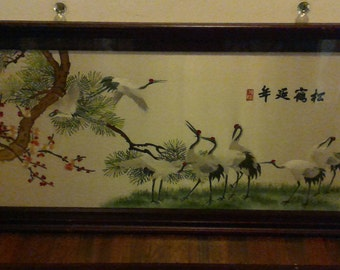 """Large 45"""" X 22"""" Framed Chinese Silk Embroidery Asian Chinoiserie Art Work Japanese Crane Cherry Blossom Signed by Artist"""