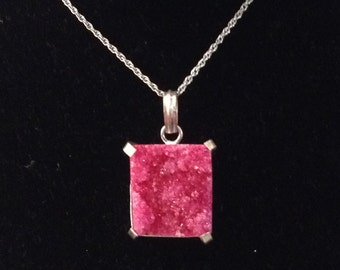Ruby Red Druzy Pendant and Silver Tone Chain Necklace