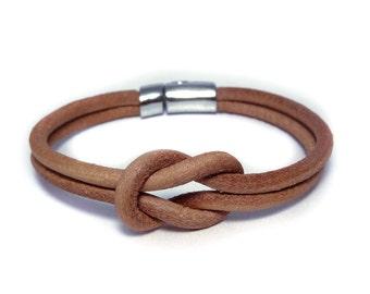 Men leather bracelet Men gift Men knot bracelet Men Jewelry Boyfriend gift Husband gift Jewelry for men Natural leather bracelet  For men