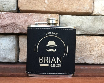 5 Personalized Groomsmen Gift, Engraved Leather Flasks Personalized, Black Stainless Steel Flasks, Hip Flask - 5 Flasks