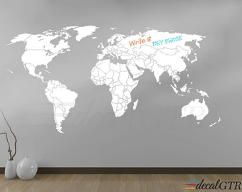 World map wall decal countries border wall art sticker for Dry erase world map wall mural