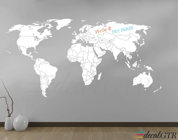 World Map Wall Decal Countries Borders Outlines By Decalgtr