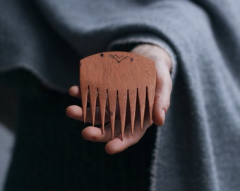 wooden hair comb in mahogany