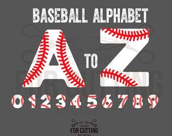 BASEBALL alphabet and numbers, baseball monogram font, baseball font, Studio3, svg, dxf, eps. Digital Files, Instant Download. 0617