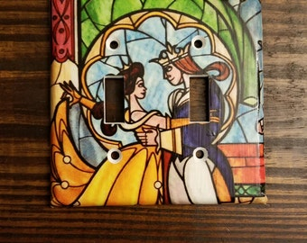 Beauty And The Beast Double Toggle Light Switch Cover | Stained Glass - Disney Princess - Belle And Beast - Wall Decal - Princess Belle Art