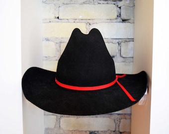 Vintage Size 7 (S-M) Black 100% Wool Felt Cowboy Hat with Red Grosgrain Ribbon Silver Spur B bar H Quarter Horse Western Made in the U.S.A.