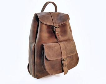 Waxed Brown Backpack Women, Full Grain Leather Backpack. Leather Satchel, Leather Rucksack. 100% Cowhide Handmade in Greece.