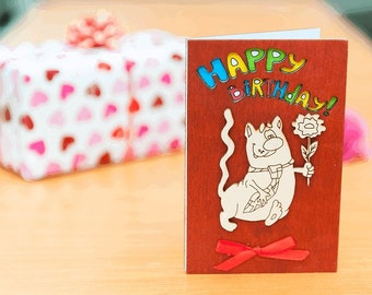 "Wooden BIRTHDAY card, wooden GREETING card, wooden greeting card, birthday gift, wood, card, birthday, gift, wooden,  greeting card ""Cat"""