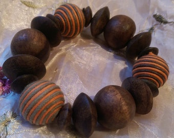 Chunky Wooden Beaded Bracelet