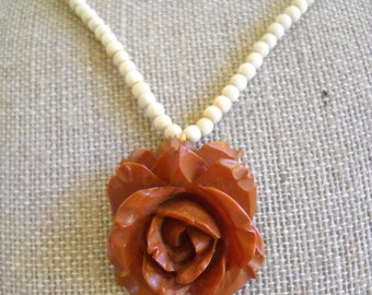 Vintage Brown Bakelite Rose Pendent Necklace with Ivory/Bone Beads