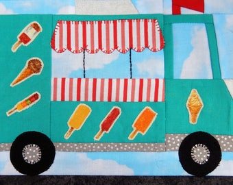 Ice cream truck or van foundation paper pieced PDF quilt block pattern; downloadable vehicle quilt pattern; paper piecing; Ms P Designs USA