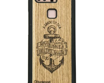 Huawei P9 Sailor Wood Case - Real Wooden Case - Black Bumper