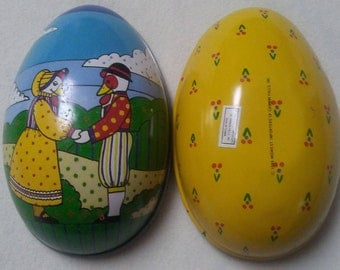 """Vintage Egg Shaped Tin Container, DUCK COUPLE, 5 1/4"""" long, 1985"""
