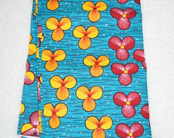 African Wax Print Fabric - Flower Print (Sold by the yard)