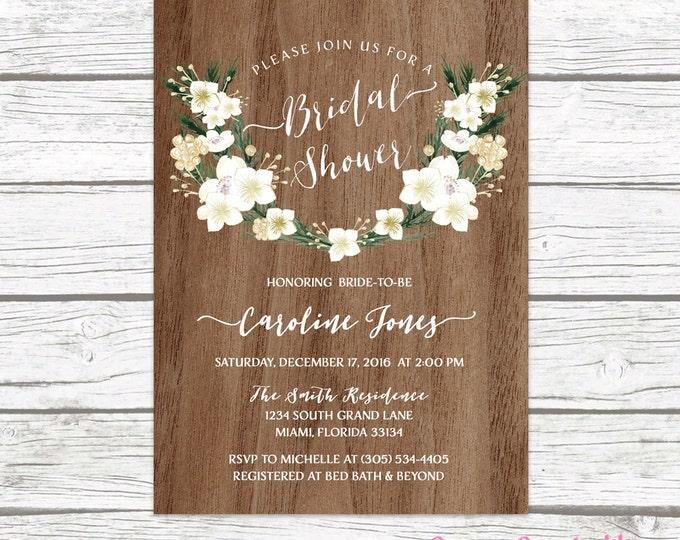 Winter Bridal Shower Invitation, Rustic Bridal Shower Invitation, Christmas Bridal Shower Invitation, White Floral Bridal Shower Invite