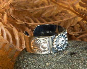 Handmade Sterling Silver Ring with Stamped Accents, a Southwestern Style Bead and an Open Ring Band