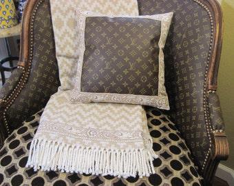 "Pierre Deux Souleiado Le Petit Artichaut Border with Louis Vuitton Front on Pillow 14x14"" Zippered, Insert Included"