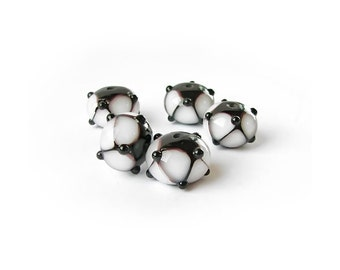 Lampwork Beads, Black White Glass Lampwork Bead Set, Handmade Glass Beads, Multicolor Beads, art beads