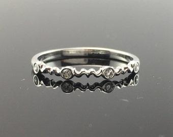 White Gold Dainty Filigree Style and Diamond Wedding Band- 14K White Gold Vintage Inspired Diamond Wedding Ring- Scroll Design Diamond Ring