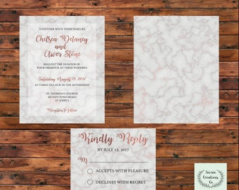 Rose Gold Marble Wedding Invitation Set   Digital File