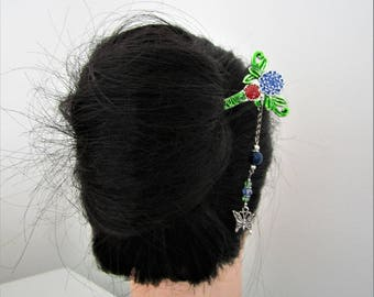 Enamel Peony Hair Stick with Lapis Lazuli, kanzashi, Butterfly hairstick, Ornate Hair pin, Oriental hair stick, Japanese hair pin, Hair pin