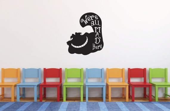 We're All Mad Here Cat Wall Decal by Aztroids