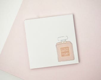 Chanel Coco Mademoiselle Perfume Pink Illustrated Sticky Post It Notes Planner Stickers Cute Stationery