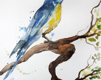Original Watercolor Painting, Tit art, bird art, Gift for her, Bird decor, gift for mom, watercolor art, watercolor bird, Original Art OOAK