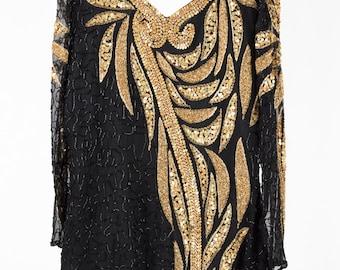 Stunning Gold and Black vintage evening dress.