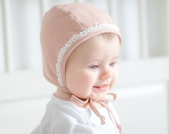 Classic Baby Bonnet Linen Cotton Organic Dusty Rose Pink Lace Girl Bonnet