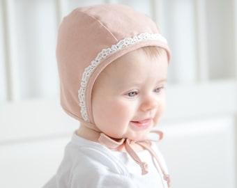 Classic Baby Bonnet Linen Cotton Organic Dusty Rose Pink Lace Girl Bonnet