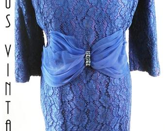 """Plus Size UK 18 Vintage 1960s Dress Suit Jacket Indigo Blue Chantilly Lace Mad Men EU 46 US 14 Bust 44"""" 112cm"""