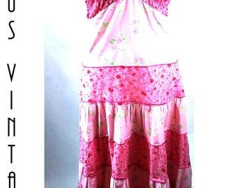 "UK 12 14 Vintage 1970s Pink Floral Smocked Maxi Sun Dress Ditsy Boho Hippie EU 42 US 10 Bust up to 40"" 102cm"