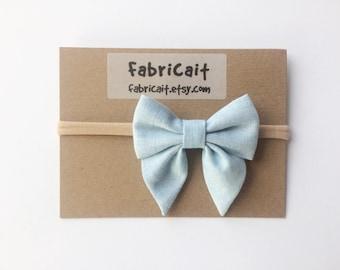 Blue Bow Headband. Baby Bow Headband. Blue Linen Bow Headband. Bow Headband. Fabric Bow Headband. Blue Newborn Bow.
