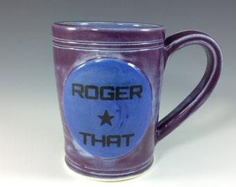 Roger That - Coffee Mugs, Purple and Blue Stoneware Mug, Ceramic Coffee Mugs, Coffee Cup, Tea Cup, Beverage Cup, Handmade Pottery Mugs
