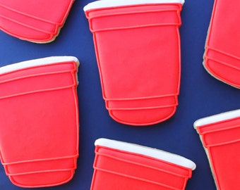 Red Solo Cup Sugar Cookies // 21st Birthday Sugar Cookies // Party Sugar Cookies