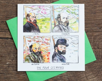 The Four Cezannes - Greetings Card - pun - humour - art history joke