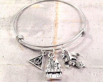Harry Potter bracelet,  Dragon Charm Bracelet, Castle charm,  adjustable bangle, fantastic beast bracelet, Harry Potter fan
