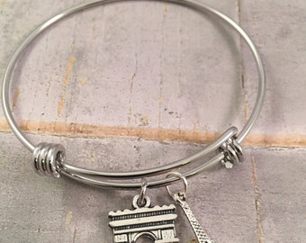 Eiffel tower bracelet, Paris bracelet, Arc de Triomphe, personalized jewelry, French fashion, paris charms, gift for her