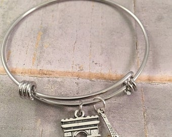 Eiffel tower bracelet, Paris bracelet, Arc de Triomphe, personalized jewelry, French fashion, paris charms, gift for her
