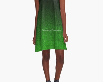Green and Black Glitter Gradient A-Line Dress, 6 Sizes Available!