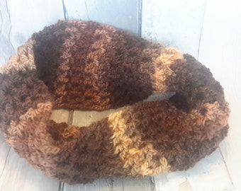 Brown ladies scarf - Autumn brown scarf, Autumn colour scarf,  crochet Infinity Cowl, chunky cowl