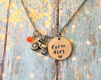 Farm Girl Necklace - Tractor Necklace - Tractor Jewelry - Country Girl - Farmers Wife - Tractor Charm - Charm Necklace - Farming Jewelry