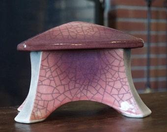 Vintage Pink and Gray Pagoda Shaped Box/ Crackle Glaze/ Crazing/ Mid Century Modern/ Japanese