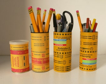 Cute Storage Tins / Canister With 120 Film Decoration - Ideal Pencil Pot Or Desk Tidy