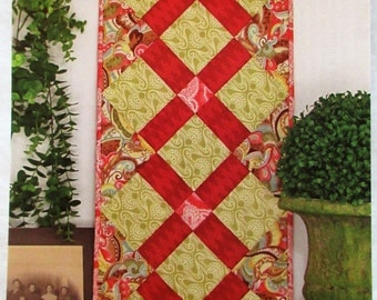 """Out Of The Blue Quilt-As-You-Sew! Table Runner Quilt Pattern ~ """"Fat Quarter Table Runner V"""" #Q114"""