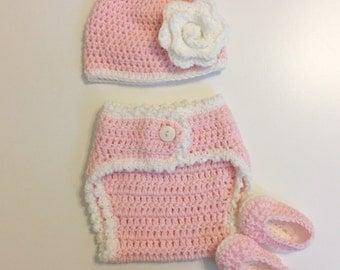 Crochet Beanie and Diaper Cover ( Newborn - 12 months)