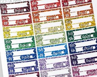 "Planner Stickers ""Glitter"" Bill Due Reminder for Erin Condren, Happy Planner, Filofax, Scrapbooking"