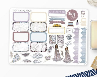 Planner Stickers Glitter Trail Half Box and Deco for Erin Condren, Happy Planner, Filofax, Scrapbooking